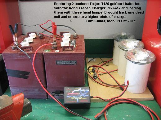 Tom Childs restoring two golf cart batteries